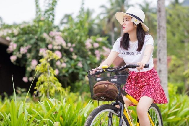 phuong ly on bicycle