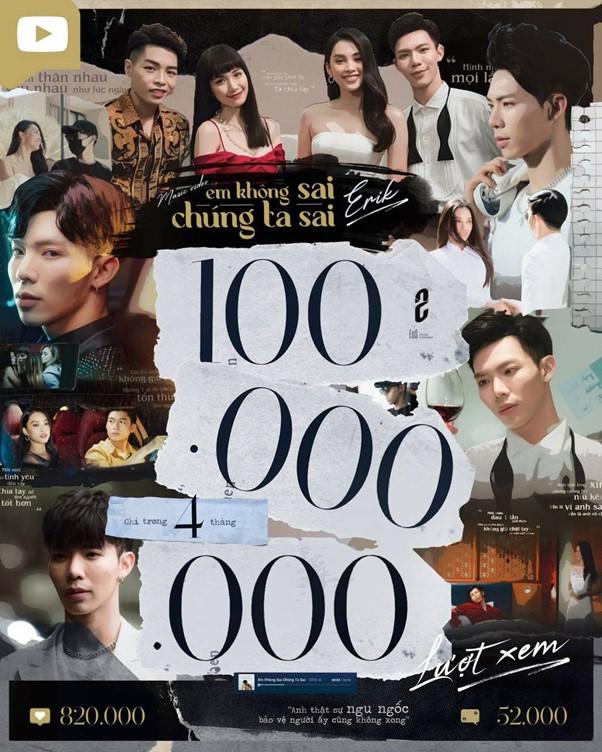 100 million views erik em khong sai chung ta sai vpop news